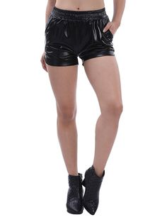 d19ba1f0c2 Women's Clothing, Shorts, Women's Sexy Loose Leather Shiny Metallic Mini  Sport Hot Shorts -