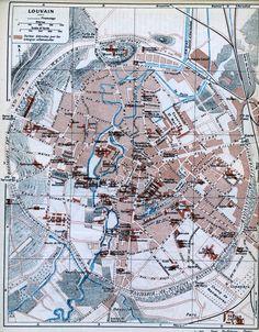 """Leuven, uit the blue guides """"Belgium and the western front"""", 1920. De gearceerde delen op de kaart verwijzen naar de huizen vernield door de Duitsers in 1914."""
