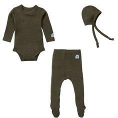 Ella's Wool Baby Base Layer Set w/Hat (Moss Green, 3-6M)