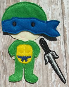 """Leonardo Leo Ninja Turtle inspired Set from """"Unpaper Felt Dolls Share"""" collection Listing for doll clothes outfit only Suit, Mask & Weapon by cabincraftycreations on Etsy"""