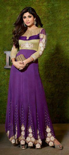 411744: Purple and Violet color family unstitched Bollywood Salwar Kameez.