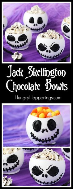 These Jack Skellington Chocolate Bowls filled with Cookies 'n Cream Cheesecake Mousse or candy are to die for and they are perfect desserts to serve at a Halloween celebration or a Nightmare Before Christmas party. - from hungryhappenings.com
