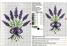 Letras y Artes da Lalá: cross stitch chart - Eat Recipes Cross Stitch Charts, Cross Stitch Designs, Cross Stitch Patterns, Lavender Crafts, Lavender Bags, Cross Stitching, Cross Stitch Embroidery, Beading Patterns, Embroidery Patterns