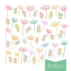 Dandelion Clip Art - Pastel Colored Dandelion & Foliage Digital Graphics for Scrapbook, Card, Invites   Commercial License Available