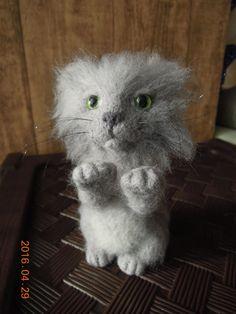 Котенок, игрушка ручной работы, фелтинг