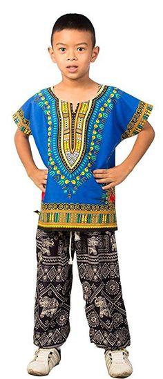 Kids African Dashiki Shirt - Blue