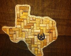 Handmade Texas art made with real wine corks with star in horseshoe