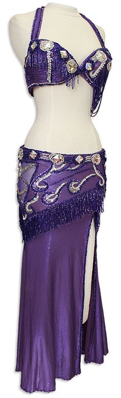Purple Jeweled Egyptian Bra & Skirt In Stock Belly Dance Costume