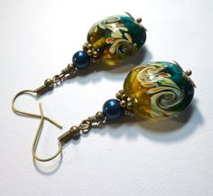 Jewelry Earrings Teal Green Cream Swirl by SpiritCatDesigns