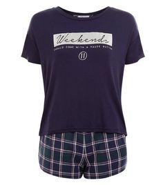 Teens Navy Weekends Check Print Pyjama Set | New Look