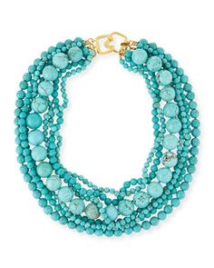 "Stabilized-Turquoise Bead Multistrand Necklace, 18""L by Kenneth Jay Lane at Neiman Marcus."