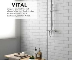 Keep things swish and stylish with this retro selection of tiles in the Vital range. Free samples now available. #tiles #ceramic #walltiles #walls #DIY