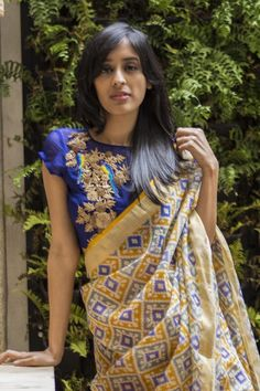 A stunning sheer yoke blouse in a rich ultramarine blue! A chiffon blouse with a sheer yoke and an intricate gold zardosi appliqué on one side with parrot worked in. A diva blouse this one!This blouse takes well to a myriad of pairings. A plain saree in a contrast of complimentary color or a rich saree with a touch of blue in it. Pair away! Whatsapp +91 81050 68601. *Shipping worldwide* #saree #blouse #sareeblouse #blousedesigns #desi #indianfashion #india #bollywood #ultramarine #chiffon