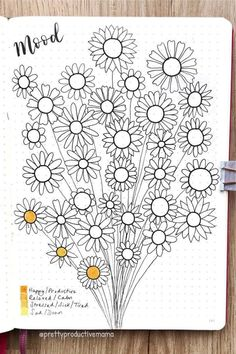 If you want to add a super cute floral theme to your bullet journal spreads this month, check out these daisy monthly covers, habit trackers, weekly spreads and more for new ideas / inspiration! Bullet Journal Monthly Spread, Bullet Journal Notebook, Bullet Journal School, Bullet Journal Themes, Bullet Journal Inspiration, Easy Doodles Drawings, Doodle Patterns, Art Graphique, Art Journal Pages