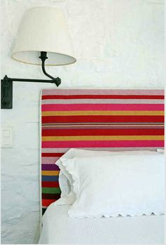 Textile, stripy headboard.