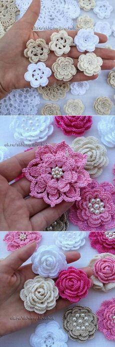 Ideas Crochet Granny Square Flower Pattern For 2019 Granny Square Crochet Pattern, Crochet Flower Patterns, Crochet Granny, Crochet Motif, Irish Crochet, Crochet Doilies, Knitting Patterns, Knit Crochet, Crochet Roses
