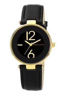Anne Klein Round Leather Strap Watch | Nordstrom