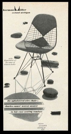 Classic Herman Miller advertisement for The Upholstered Wire Chair