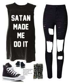 """""""Untitled #1441"""" by tokyoghoul1 ❤ liked on Polyvore featuring WithChic, Converse and Killstar"""