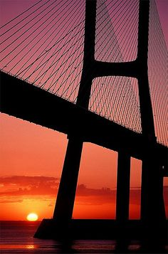 Sunrise in Vasco da Gama Bridge, Tagus river, Lisbon, Portugal