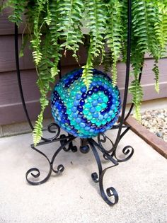 Bowling Ball Gazing Project Having you seen them yet? Gazing balls are making a comeback. I have my great grand mothers gazing ball and stand. Recently I made my own mirror and glass tiled one too. My bowling ball gazing project couldn't have simpler!