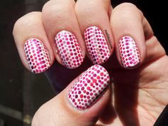 Nailhilism: Pink Holo Dotted Stripes