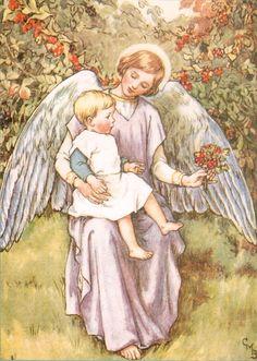 Vintage 1920s postcard angel baby child digital download printable instant image