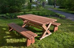 Solid wood table and benches.