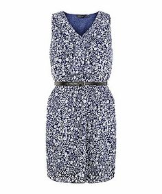 Blue Pattern (Blue) Blue Frill Front Floral Print Belted Dress | 301046849 | New Look