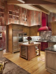 The Kitchen Backsplash Is Hammered Tin Walls Are Reclaimed Barnwood With Natural Red