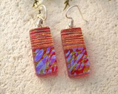 Golden Rainbow Red Earring - Red Dangle Earrings - Red Earrings - Dichroic Jewelry - Dichroic Earrings - Fused Glass - Sterling   121214e106