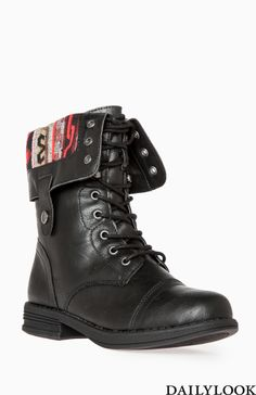 Dailylook Tribal Lined Combat Boots
