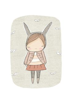 Nursery Art - Rabbit Wall Art - Bunny Rabbit with Pale Cinnamon Pink - Dusty Pink Coat - Art Print 8x10 Childrens Room via Etsy