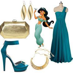 dress like disney princesses for prom jasmine Princess Inspired Outfits, Disney Princess Outfits, Disney Themed Outfits, Disney Inspired Fashion, Girly Outfits, Movie Outfits, Disney Princesses, Disney Fashion, Princess Clothes