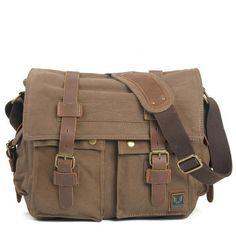 Light Coffee Canvas Leather Camera Bag Leisure Shoulder Bag Messenger Bag DSLR Camera Bag 2138DL