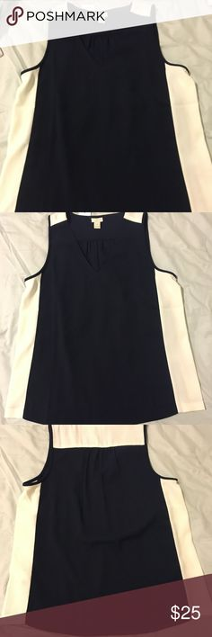 Navy and off white j crew sleeveless blouse 100% polyester drapery tank  blouse navy with off white stripes down side back pleating SIZE 8 v neck J. Crew Tops Blouses