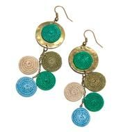 #FairTuesday Hammered Brass and Sisal Drop Earrings  : The women of Tinstaba handcraft each piece of these stylish earrings, from coiling the delicate sisal disks to hammering the brass accents.