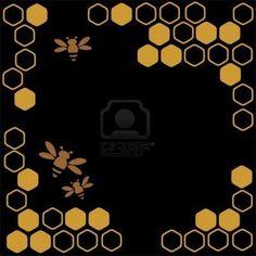 stilisierte-bienen-und-honig-auf-einem-schwarzen-hintergrund