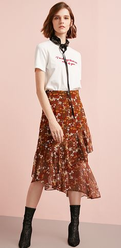 【Full 500 minus 50】ONLY2018 Amoi Floral chiffon skirt female | 118116544 - CHINATOPSTORE Online Shopping for Electronic, Shoes, Bag up to 95% off