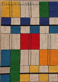 Mondrian-inspired abstract cross stitch design