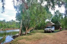 4wd camp set up on the banks of the River Murray, Australia