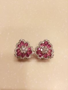 Cherry blossom pink sapphires and diamonds earrings