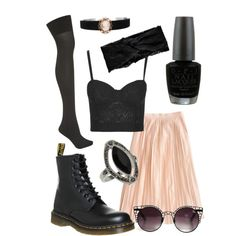 cute with boots by melissa-casu on Polyvore featuring polyvore, mode, style, Rare London, J.Crew, Pretty Polly, Dr. Martens, Topshop, Boohoo, Quay Eyeware and OPI