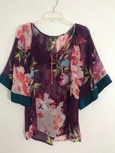 c52c05a706c688 Express Floral sheer blouse chiffon top purple shirt boho bell sleeve Sz S  1002  Express