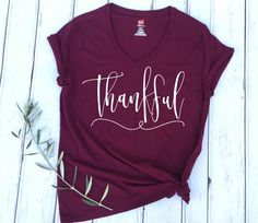 Thankful Shirt, Thankful T-shirt, Thankful, Thanksgiving Shirt, Holiday Shirt, Fall Shirt, Fall style, Fall Fashion, Grateful Shirt, Blessed by EllaJayDesign on Etsy https://www.etsy.com/listing/471306400/thankful-shirt-thankful-t-shirt-thankful