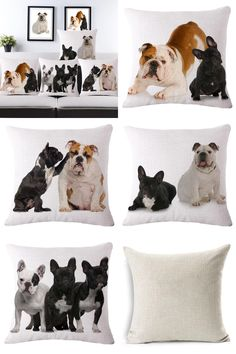 [Visit to Buy] Cute and Lovely French Bulldog Pattern Cotton Linen Cushion Cover Waist Square Pillow Cover Pillowcase Home Textile #Advertisement