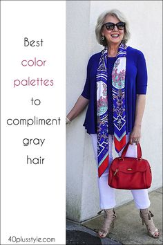 The best colors to complement gray hair - color palettes for silver hair - Type 2 Mood - Colors That Compliment Grey, Colours That Go With Grey, Bright Colours, Grey Hair Over 50, Long Gray Hair, Grey Hair Styles For Women, Mode Outfits, Fashion Outfits, Fashion For Women Over 40