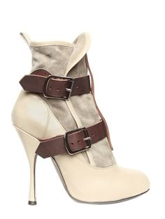 VIVIENNE WESTWOOD - SUEDE AND CALF BUCKLE LOW BOOTS  #boots #heels #shoes