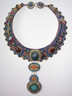 rich-color royal beaded embroidery necklace. $158.00, via Etsy.