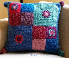 Crochet granny cushion